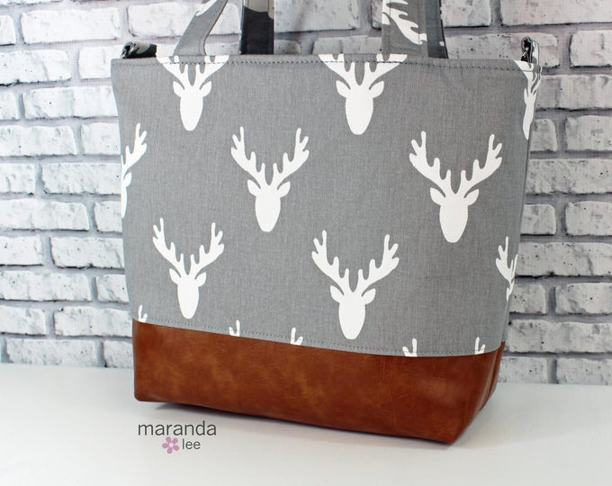 Lulu Large Tote in Grey Antlers and PU Leather   6 pockets Nappy Work Purse