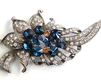 1940's Sapphire Blue and Clear Rhinestone Brooch