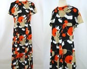 1970s Black Dress with Beige, Orange and White Floral Print Maxi Dress by Berkshire B-Tween