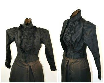 1880s/1890s Victorian Black Damask Ruffled Jacket, Estate Fresh, Needs TLC