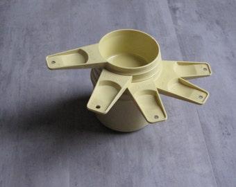 Vintage Retro Tupperware Yellow Measuring Cups - Set of 5