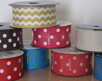 Supplies:  Lot of Ribbon - Multicolored Polka Dot, Chevron, Etc.