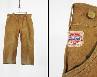 Vintage 1940s Carhartt Duck Pants Blanket Lined Dungarees Sanforized Union Made - 36 x 26