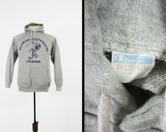 Vintage 70s Alfred University Hoodie Champion Blue Bar Two Tone Pullover Sweatshirt - Small