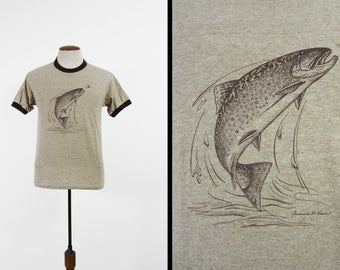 Vintage 80s Trout T-shirt Rayon Tri Blend Heather Brown Ringer Tee - Medium
