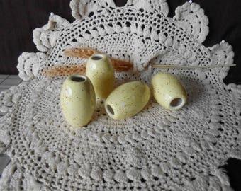 4 Lg Oval  Shaped Glazed Ceramic Macrame Beads-Handcrafted-Yellow-Spiced Banana-NO3