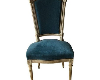 Antique French Chair with Blue Upholstery