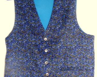 Navy corduroy mens vest, size XL men's vest, 4 pockets mens vest,  ready to ship