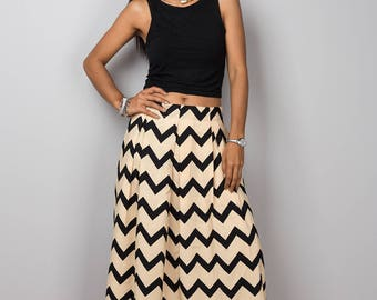 Maxi skirt, chevron skirt, summer skirt, floor Length Skirt, women's Maxi Skirt, black and cream skirt : Feel Good Collection No.3