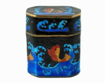 Vintage Japanese Cloisonné Octagonal Lidded Box with Koi Motif