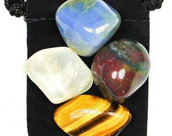 MATERNAL INSTINCT Tumbled Crystal Healing Set - 4 Gemstones w/Description & Pouch - Bloodstone, Chalcedony, Moonstone, and Tiger's Eye