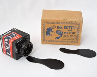 Vintage 1950's Ink Bottle & Ink Spot Practical Joke - Glass Ink Bottle with Joke Ink Spots - In Original Box