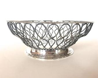 Vintage Silver plate Bowl or Basket  Mid Century Modern