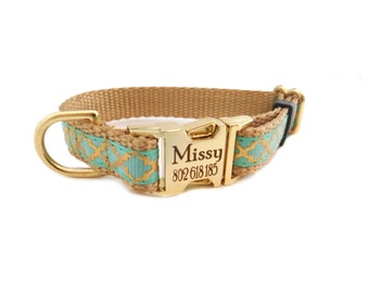 Personalized Dog Collar, Quatrefoil Print, Teal for Small Dogs