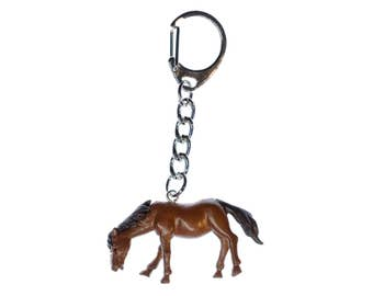 Horse Key Chain Miniblings Necklace Key Ring pony rides brown 3D