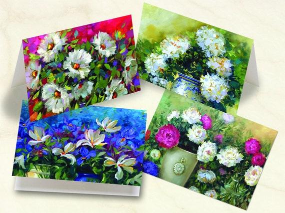 notecard set, thank you cards, Nancy Medina fine art notecards, floral notecards, lily notecard set, hydrangea thank you cards, NM_S3