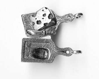 CHEESE BOARD On Cutting Board Charm. Pewter. 3D. Made in the USA. Slice. Knife. Swiss Cheese.