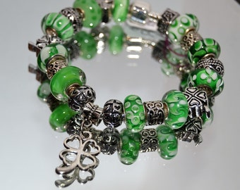 Lucky Irish Green European Charm Bracelet Handmade with Murano Glass Lampwork Beads