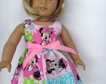 18 inch doll dress, Minnie pink, lime and aqua block dress, made to fit 18 inch dolls such as American Girl and similar size dolls