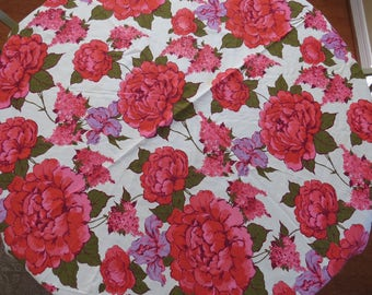 Round Floral Tablecloth -  Pink Red Lavender Iris Peonies Lilacs - Spring Summer Decor - Vintage Table Linens - Collectible