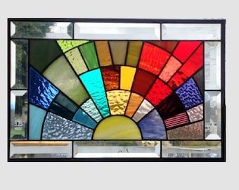 Beveled stained glass window panel rainbow arch geometric stained glass panel window hanging abstract suncatcher 0178 17 1/2 x 11 1/2