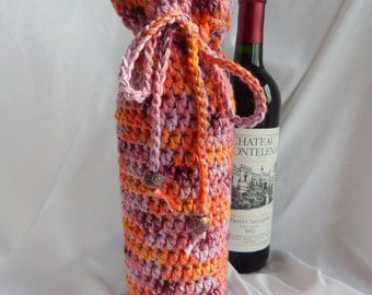Wine Cozy - Crochet Wine Bottle Covers Sacks Gift Bags - Shades Orange and Purple with Pink Glitter Beads