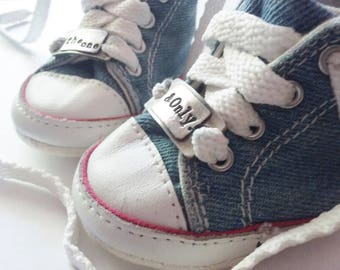 PERSONALIZED Toddler ShoeTagz™! | hand-stamped | heartfelt message | fine pewter | perfect baby shower or birthday gift | 2 Tags