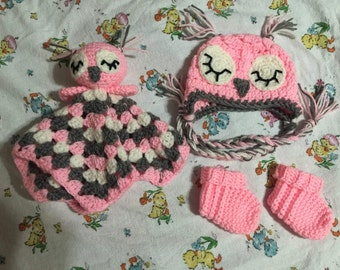 FREE SHIPPING Sleepy Owl Crochet Baby Set Includes Hat, Booties, and Lovey Size Newborn 0 to 3 months Knit Shower Gift Infant