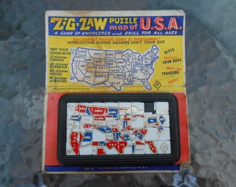 Vintage Zig Zaw Puzzle Game Toy Map of the USA On Card