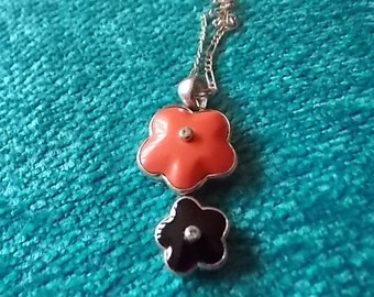 Vintage Silver Italian Pink Black Coral Necklace - LOVELY