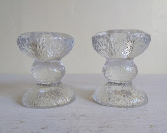 Vintage Nordic Ice Style Candle Holders, Finnish Style, Glass Candlesticks.