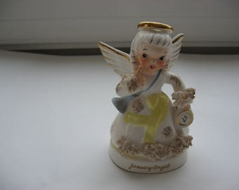 Vintage Mid Century January Angel//Spaghetti Ceramic//Napco 1950s/60s//January Birthday Gift//Collectible Holiday New Years Eve