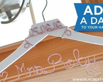 Add a Date to your Bridal Hanger / Wedding Date Hanger / Wedding Hanger with Date / Bride Hanger with Date