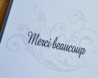 Merci Beaucoup Cards, Thank You Note Cards, Flourish Cards, Wedding Cards, Handmade Stationary, Cartes de Remerciements, Greeting Card Set