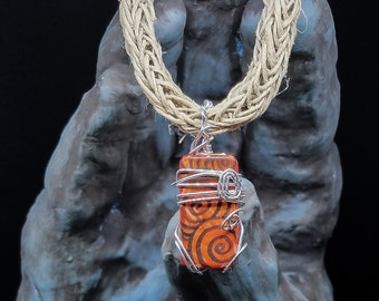 "OOAK Upcycled Domino Silver Wire Wrapped Pendant on 18"" Crocheted Natural Hemp"