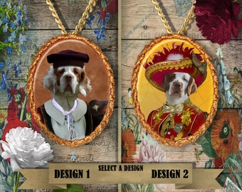 Clumber Spaniel Jewelry. Clumber Spaniel Pendant or Brooch. Clumber Spaniel Necklace. Custom Dog Jewelry by Nobility Dogs.