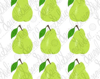 Pears Yellow Green Art Print, 8x10, Kitchen Art, Fruit Food, Wall Art