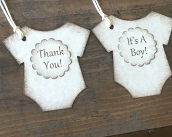 Baby Bodysuit It's A Boy Tag - It's A Gir!l Thank You Tags - Baby Shower Favor Tags - Set of 12