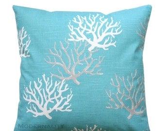 SALE Accent Pillow, Coastal Blue Isadella Pillow Cover, Zippered Pillow, Ocean Coral Pillow, Nautical Pillow, Beach House Decor, Aqua Blue P