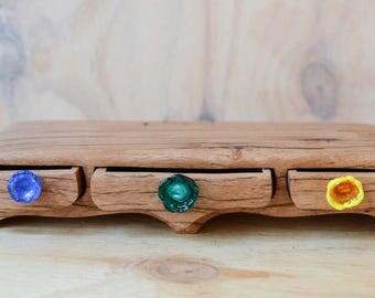 Low rider triple drawer arches box. wood box. bandsaw box.  wooden box. glass drawer pull. drawer box. teal ochreglass. wood grain box.