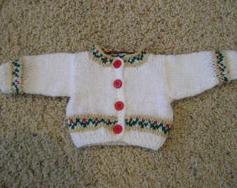 Cardigan Sweater White borders of Gold Green and Red  15 or 18 Inch Dolls American Girl Cabbage Patch Bitty
