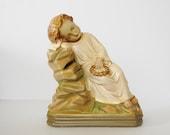 Vintage Jesus Statue, Chalkware Sleeping Infant Jesus Christ, Religious Statuary, Catholic Altar