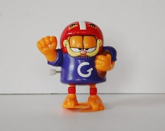 Vintage Garfield Wind Up Football Garfield Toy Figure 90's Collectibles