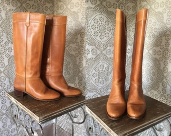 Women's Vintage 1970's Caramel Leather Boots by Thom McAn Size 8