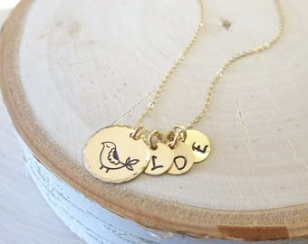 Mama Bird necklace personalized with childrens initials, family, Mothers day gift idea, mother of the bride gift from daughter, hand stamped
