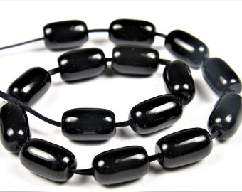 Quality Permanently Dyed Black Agate Small Tube Beads - 8mm x 5mm - 16 Pieces - B6628