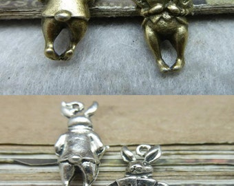 20pcs 8x22mm The Rabbit  Antique Bronze Retro Pendant Charm For Jewelry Bracelet Necklace Charms Pendants C8330-C8338