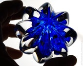 Handcrafted Glass Paperweight - Ribbed Clear Crystal with Blue Core