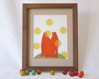 Two cats pondering, framed giclee print, Susan Sanford art, orange cats