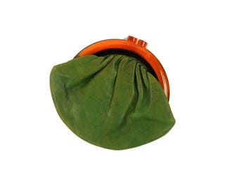 Vintage 1950's Green Leather Amber Lucite Kissing Lock Small Purse Clutch Wallet Coin Purse
